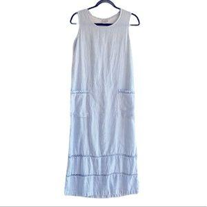 Vintage Match Linen Tie Back Tank Midi Dress